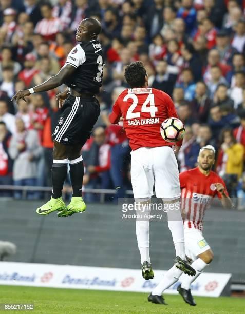 Vincent Aboubakar of Besiktas in action against Salih Dursun of Antalyaspor during the Turkish Spor Toto Super Lig football match between Antalyaspor...