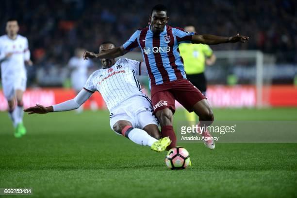 Vincent Aboubakar of Besiktas is in action against Fabian Castillo of Trabzonspor during Turkish Spor Toto Super Lig match between Trabzonspor and...