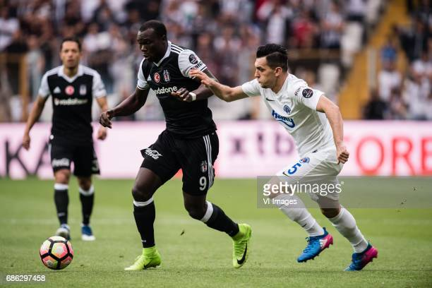 Vincent Aboubakar of Besiktas JK Abdullah Durak of Kasimpasa ASduring the Turkish Spor Toto Super Lig football match between Besiktas JK and...