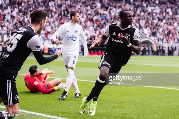 Vincent Aboubakar of Besiktas JK celebrate his goalduring the Turkish Spor Toto Super Lig football match between Besiktas JK and Kasimpasa AS on May...