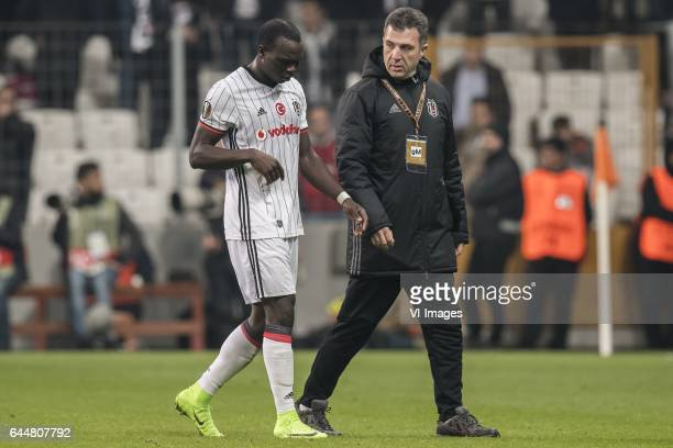 Vincent Aboubakar of Besiktas JK left the match injuredduring the UEFA Europa League round of 16 match between Besiktas JK and Hapoel Beer Sheva on...