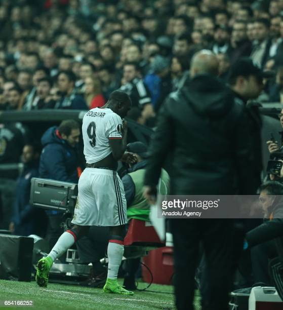 Vincent Aboubakar of Besiktas leaves the pitch after he received a red card during the UEFA Europa League Round 16 secondleg match between Besiktas...