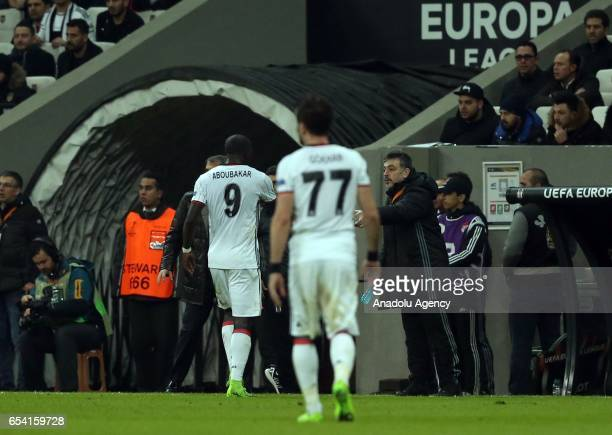 Vincent Aboubakar of Besiktas leaves the pitch after he was shown red card by the referee during the UEFA Europa League Round 16 secondleg match...