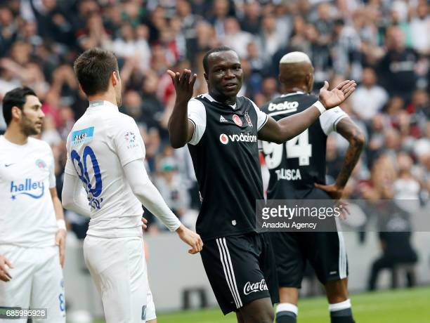Vincent Aboubakar of Besiktas reacts during the Turkish Spor Toto Super Lig soccer match between Besiktas and Kasimpasa at the Vodafone Arena in...