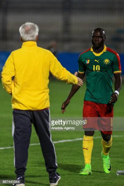 Vincent Aboubakar of Cameroon celebrates his goal during the friendly football match between Tunisia and Cameroon at the Ben Jannet stadium in...