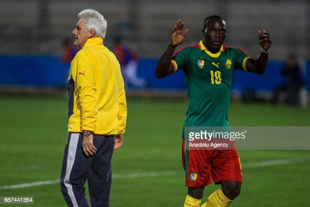 Vincent Aboubakar of Cameroon celebrates his goal with his coach Hugo Broos during the friendly football match between Tunisia and Cameroon at the...