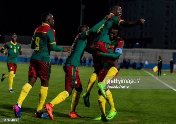 Vincent Aboubakar of Cameroon celebrates his goal with his team mates during the friendly football match between Tunisia and Cameroon at the Ben...