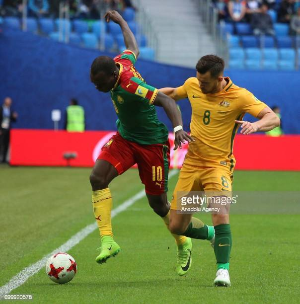 Vincent Aboubakar of Cameroon in action against Bailey Wright of Australia during the Confederations Cup 2017 match between Cameroon Australia at...