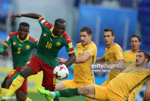 Vincent Aboubakar of Cameroon in action against Mathew Leckie of Australia during the Confederations Cup 2017 match between Cameroon and Australia at...