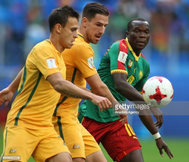 Vincent Aboubakar of Cameroon in action against Milos Degenek and Trent Sainsbury of Australia during the Confederations Cup 2017 match between...
