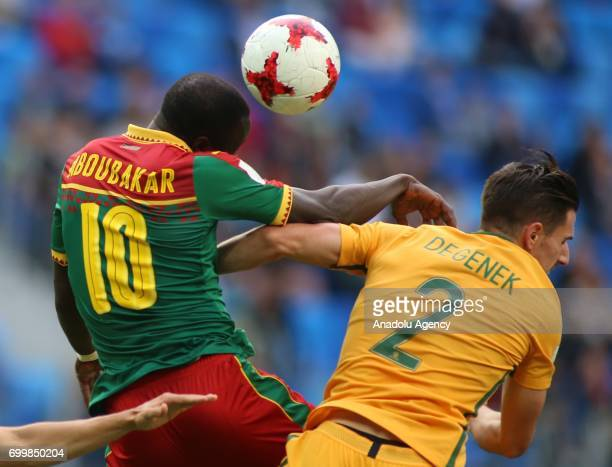 Vincent Aboubakar of Cameroon in action against Milos Degenek of Australia during the Confederations Cup 2017 match between Cameroon and Australia at...