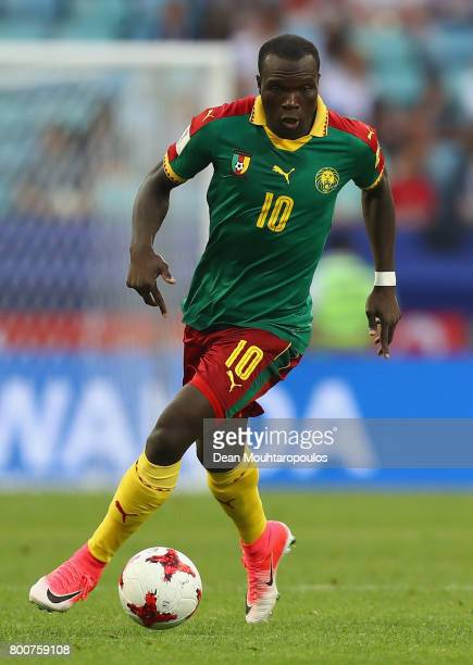 Vincent Aboubakar of Cameroon in action during the FIFA Confederations Cup Russia 2017 Group B match between Germany and Cameroon at Fisht Olympic...