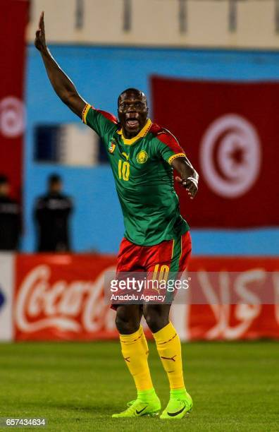 Vincent Aboubakar of Cameroon in action during the friendly football match between Tunisia and Cameroon at the Ben Jannet stadium in Monastir Tunisia...
