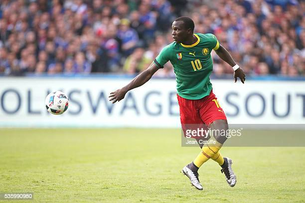 Vincent Aboubakar of Cameroon in action during the international friendly match between France and Cameroon at Stade de La Beaujoire on May 30 2016...
