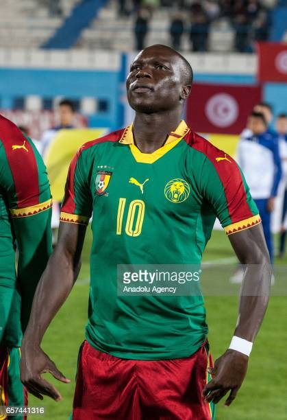 Vincent Aboubakar of Cameroon is seen during the friendly football match between Tunisia and Cameroon at the Ben Jannet stadium in Monastir Tunisia...