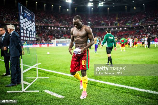 Vincent Aboubakar of Cameroon leaves the pitch after loosing the FIFA Confederations Cup Russia 2017 Group B match between Cameroon and Chile at...