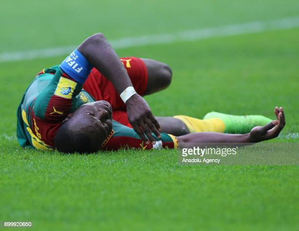 Vincent Aboubakar of Cameroon reacts after he was injured during the Confederations Cup 2017 match between Cameroon Australia at SaintPetersburg...