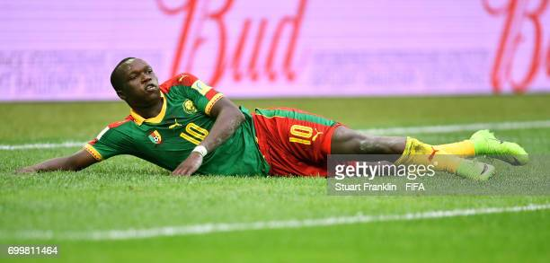 Vincent Aboubakar of Cameroon reacts during the FIFA Confederations Cup Russia 2017 Group B match between Cameroon and Australia at Saint Petersburg...