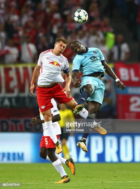 Vincent Aboubakar of FC Porto and Willi Orban of RB Leipzig battle for posession during the UEFA Champions League group G match between RB Leipzig...