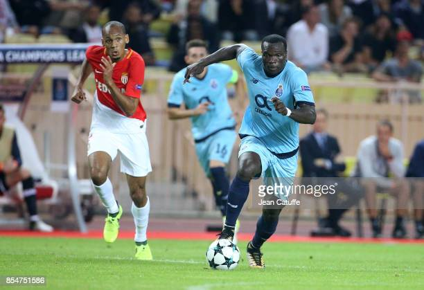 Vincent Aboubakar of FC Porto Fabio Henrique Fabinho of Monaco during the UEFA Champions League group G match between AS Monaco and FC Porto at Stade...