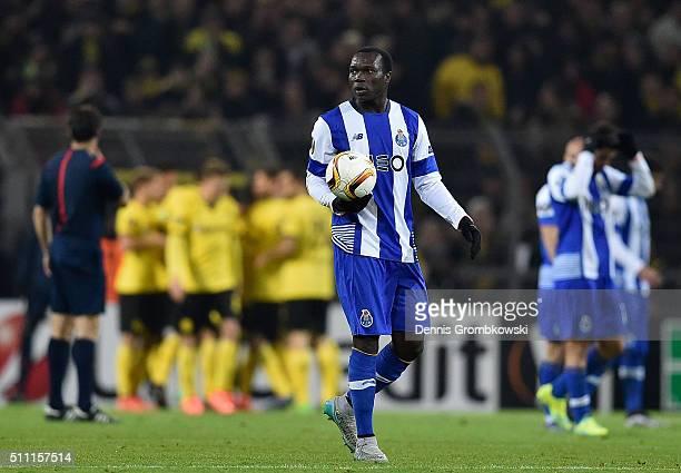 Vincent Aboubakar of FC Porto reacts after Dortmund's second goal during the UEFA Europa League round of 32 first leg match between Borussia Dortmund...