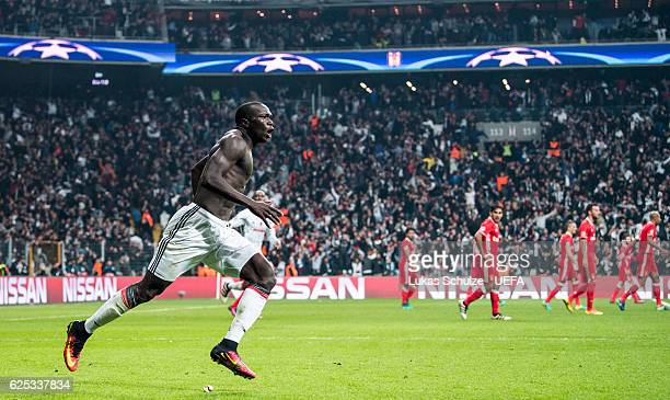 Vincent Aboubakar of Istanbul celebrates his teams third goal during the UEFA Champions League match between Besiktas JK and SL Benfica at Vodafone...