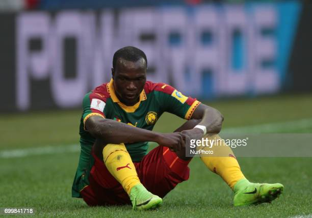 Vincent Aboubakar of the Cameroon national football team reacts during the 2017 FIFA Confederations Cup match first stage Group B between Cameroon...