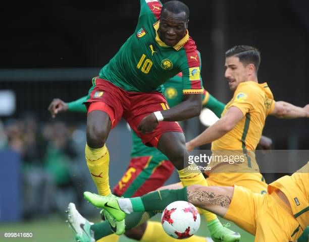 Vincent Aboubakar of the Cameroon national football team vie for the ball during the 2017 FIFA Confederations Cup match first stage Group B between...