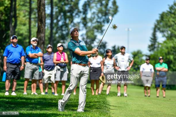 Vincent Blanchette of Canada hits approach shot on the second hole during the final round of the Mackenzie Investments Open at Club de Golf Les...