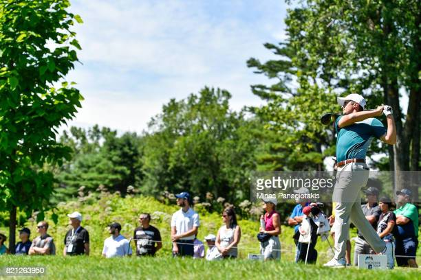 Vincent Blanchette of Canada hits his tee shot on the second hole during the final round of the Mackenzie Investments Open at Club de Golf Les Quatre...