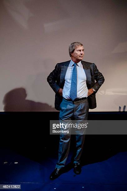 Vincent Bollore billionaire and chairman of the Bollore Group attends an Autolib carsharing scheme news conference in Paris France on Wednesday Jan...
