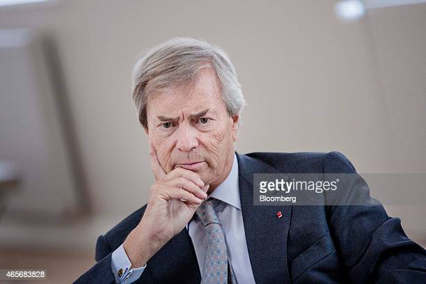 Vincent Bollore billionaire and chairman of the Bollore Group pauses during an interview at the Autolib' carsharing headquarters in Vaucresson France...