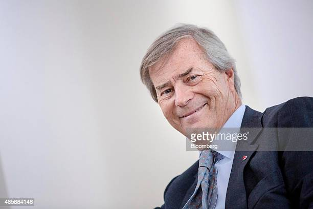 Vincent Bollore billionaire and chairman of the Bollore Group reacts during an interview at the Autolib' carsharing headquarters in Vaucresson France...