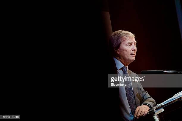Vincent Bollore billionaire and chairman of the Bollore Group speaks during an Autolib carsharing scheme news conference in Paris France on Wednesday...