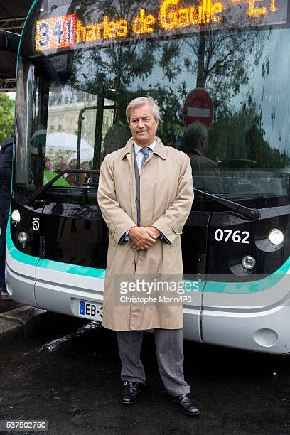 Vincent Bollore CEO of Bollore the transport and international logistics group attends the RATP inauguration of the first 100% electric bus line on...