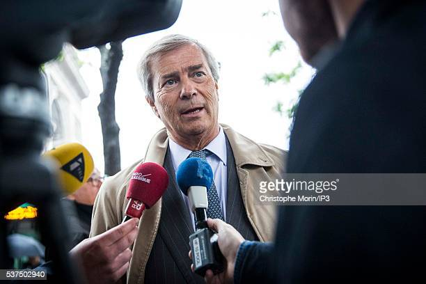 Vincent Bollore CEO of Bollore the transport and international logistics group talks to the press during the RATP inauguration of the first 100%...