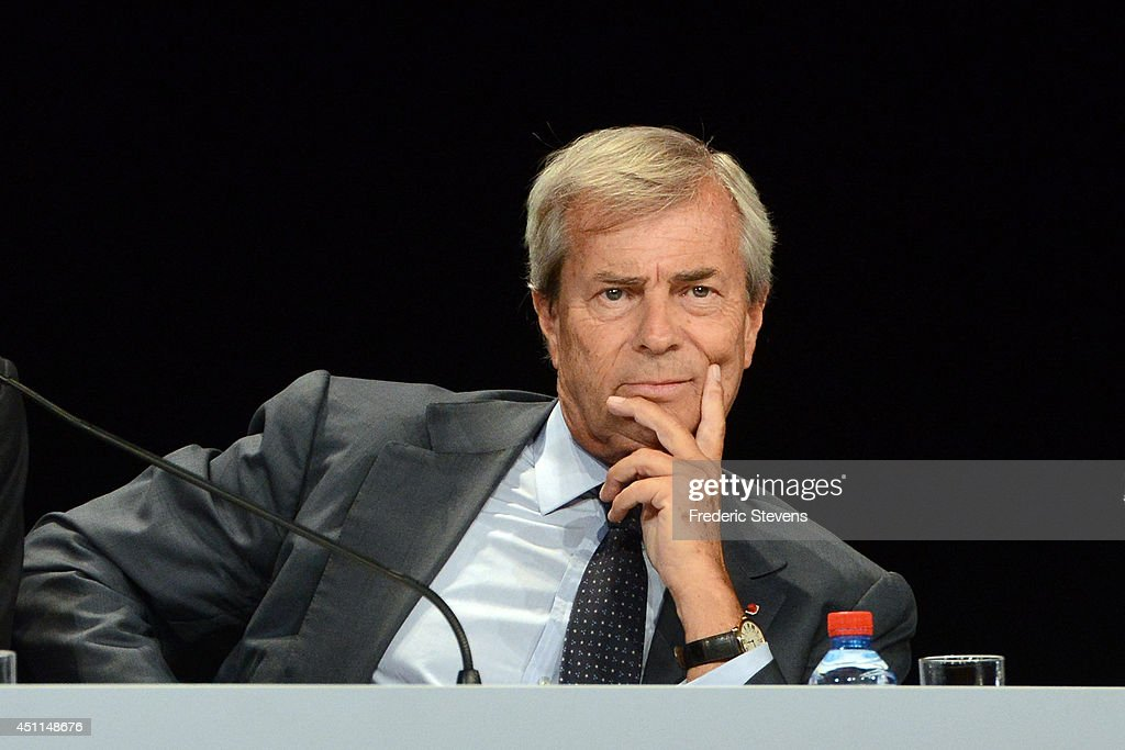 <a gi-track='captionPersonalityLinkClicked' href=/galleries/search?phrase=Vincent+Bollore&family=editorial&specificpeople=546429 ng-click='$event.stopPropagation()'>Vincent Bollore</a>, the current vice-chairman of Vivendi and largest shareholder attend the company's shareholders meeting on June 24, 2014 in Paris, France. Billionaire French businessman <a gi-track='captionPersonalityLinkClicked' href=/galleries/search?phrase=Vincent+Bollore&family=editorial&specificpeople=546429 ng-click='$event.stopPropagation()'>Vincent Bollore</a> gave the first hints of his strategy for Vivendi as he took over as chairman on Tuesday.