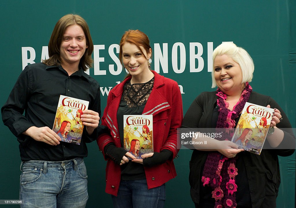 Vincent Caso Felicia Day and Robin Thorsen appear at Barnes Noble bookstore at The Grove on February 22 2011 in Los Angeles California