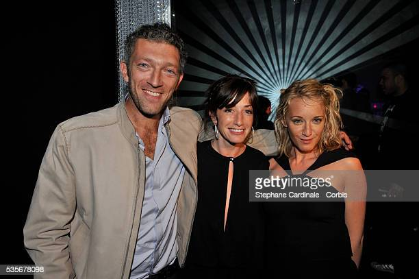 Vincent Cassel Albane Cleret and Ludivine Sagnier attend a party at Jimmy'z during the 61st Cannes Film Festival