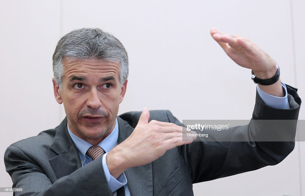 Vincent Cobee, global head for the Datsun brand at Nissan Motor Co., gestures as he speaks during an interview at the company's showroom in Yokohama, Japan on Wednesday, Jan. 8, 2014. Nissan said its low-end Datsun business will generate operating margins of as high as 7 percent because of its no-frills designs and by sharing the parents development facilities and distribution network. Photographer: Yuriko Nakao/Bloomberg via Getty Images