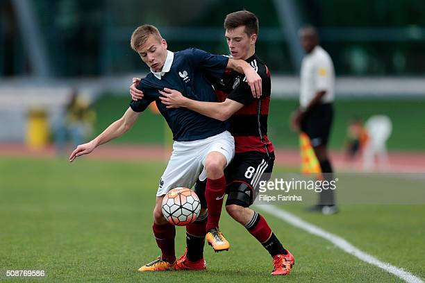 Vincent Collet of France challenges Adrian Stanilewicz of Germany during the UEFA Under16 match between U16 France v U16 Germany on February 6 2016...