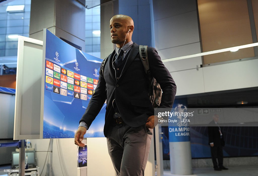 Vincent Company of Manchester City arrives at the Santiago Bernabeu stadium ahead of the UEFA Champions League Semi Final second leg match between Real Madrid and Manchester City FC at Estadio Santiago Bernabeu on May 4, 2016 in Madrid, Spain.