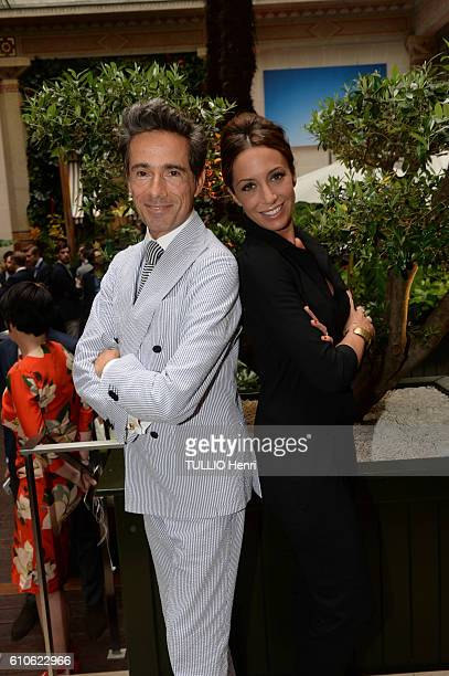 Vincent Darre and Virginie Guilhaume pose for Paris Match in the brazilian party at the Hotel Prince de Galles on june 29 2016 in Paris France