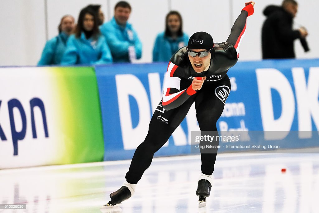 Vincent De Haitre of Canada compete in the Men 1500 meters race during day 3 of the ISU World Single Distances Speed Skating Championships held at Speed Skating Centre Kolomna Ice Arena on February 13, 2016 in Kolomna, Russia.