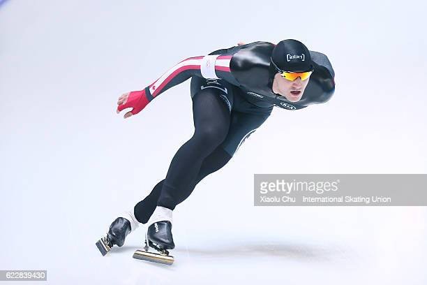 Vincent De Haitre of Canada competes in the Men 1000m on day two of the ISU World Cup Speed Skating 2016 at the Heilongjiang Speed Skating OVAL on...