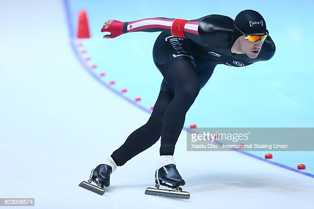 Vincent De Haitre of Canada competes in the Men 1500m on day three of the ISU World Cup Speed Skating 2016 at the Heilongjiang Speed Skating OVAL on...