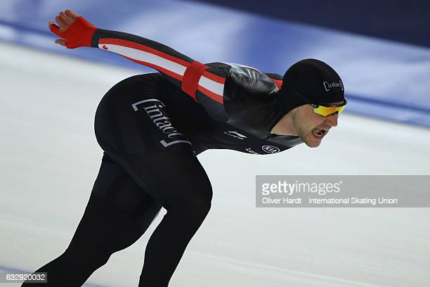 Vincent De Haitre of Canada competes in the Men Divison A 1000 meter race during the ISU World Cup Speed Skating Day 2 at the Sportforum Berlin...