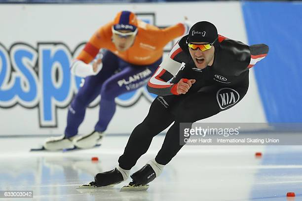 Vincent De Haitre of Canada competes in the Men Divison A 1000m race during the ISU World Cup Speed Skating Day 3 at the Sportforum Berlin Stadium on...
