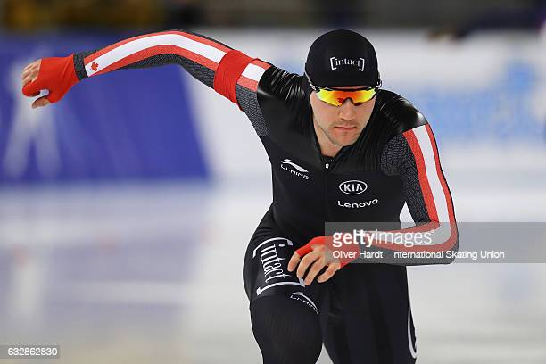 Vincent De Haitre of Canada competes in the Men Divison A 1500m race during the ISU World Cup Speed Skating Day 1 at the Sportforum Berlin Stadium on...