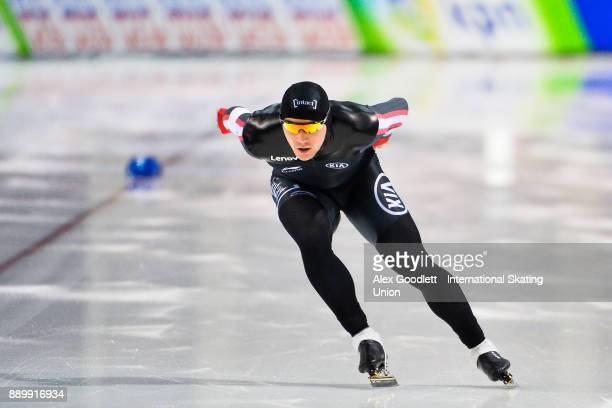 Vincent De Haitre of Canada competes in the men's 1000 meter final during day 3 of the ISU World Cup Speed Skating event on December 10 2017 in Salt...